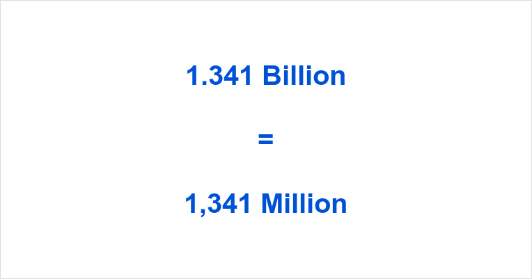1.341 Billion to Million